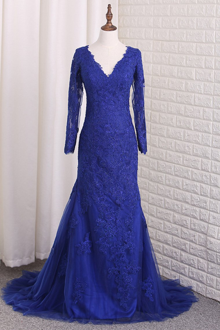 2019 Prom Dresses V Neck Long Sleeves Tulle With Applique Mermaid