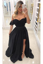 Load image into Gallery viewer, 2019 Unique Sheath Scoop Satin Prom Dresses With Beads Detachable Train