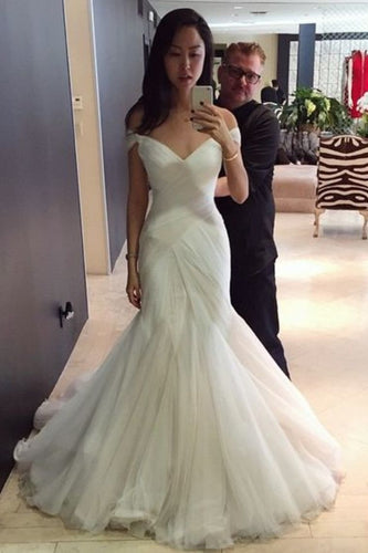 2019 Popular Off The Shoulder Mermaid/Trumpet Wedding Dresses With Ruffles Lace Up