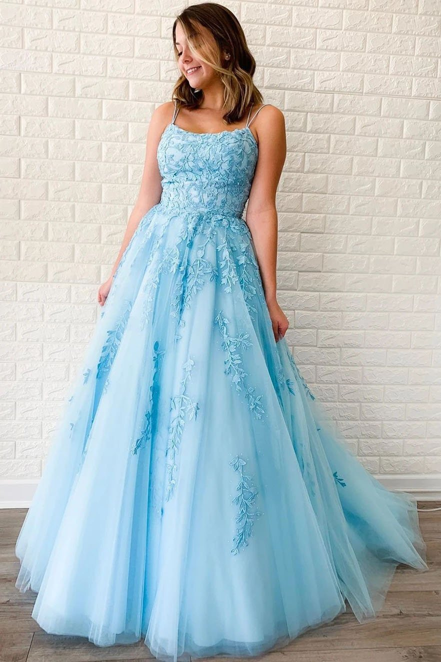 Unique A-Line Sky Blue Tulle Appliques Beads Scoop Prom Dresses with Lace SRS20453