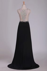 2019 New Arrival Prom Dresses Scoop With Beading And Slit Spandex Sheath