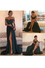 Load image into Gallery viewer, 2019 A Line Off The Shoulder Prom Dresses Stretch Satin With Applique And Slit