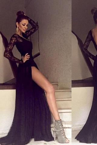 Black Long Sleeves Lace Side Split Sexy V Back Long Prom Dress RS0003