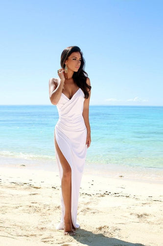 Simple Sexy Open Back Beach Side Slit Spaghetti Straps Summer White Wedding Dresses RS22