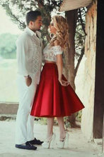Load image into Gallery viewer, Two Piece Red Satin Lace Off-the-shoulder White Short Sleeve Tea-Length Party Dresses RS59