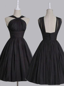 Vintage A-line Straps Knee-Length Chiffon Sash Backless Black Party Homecoming Dresses RS448