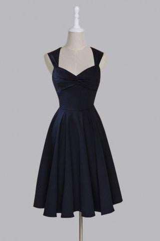 Simple Sweetheart Sleeveless Tea-Length Ruched Dark Navy Taffeta Homecoming Dresses RS459