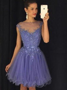 Stunning Bateau Cap Sleeves Short Lavender Homecoming Dress with Appliques Pearls RS449
