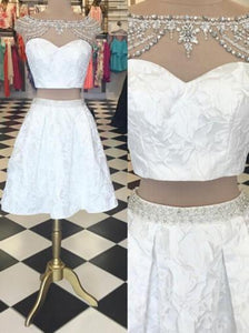 Trendy Two Piece Bateau Cap Sleeves Short White Homecoming Dress Beading Lace RS454