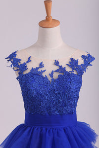 2019 Dark Royal Blue Bateau A Line Evening Dresses With Applique Tulle