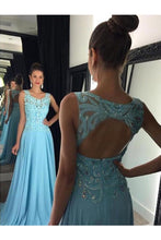 Load image into Gallery viewer, 2019 Chiffon Scoop Prom Dresses A Line With Applique And Beads Open Back