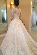 Load image into Gallery viewer, 2019 Long Sleeves Scoop Tulle With Applique A Line Court Train Wedding Dresses