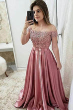Load image into Gallery viewer, 2019 Sexy Cap Sleeve A-Line Satin Evening Dress Floor-Length