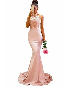Sexy Long Halter Lace Mermaid Bridesmaid Dresses Cheap Custom Long Bridesmaid Dresses RS99