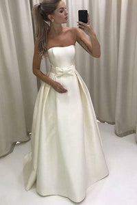 Cute Elegant Strapless Long A-Line Ivory Satin Prom Dresses Wedding Dresses