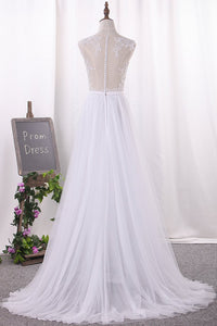 2019 A Line Tulle Scoop With Applique And Slit Wedding Dresses