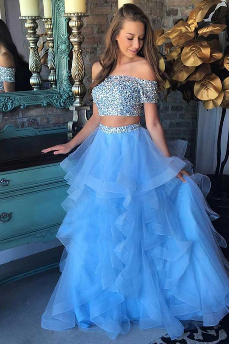 Sparkly Long 2 Pieces Off The Shoulder Light Blue Beading Prom Dresses