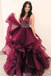 Formal Ball Gown Long V-Neck Open Back Princess Prom Dresses Quinceanera Dresses