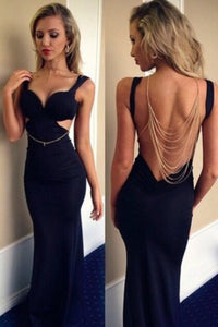 2019 Straps Open Back Spandex Prom Dresses Mermaid Sweep Train