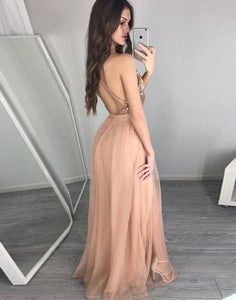 Sexy Charming Long Prom Dress Sleeveless Prom Dress Long Evening Dress Prom Dresses RS755