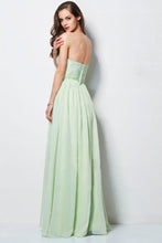 Load image into Gallery viewer, Hot Selling Prom Dresses A Line Floor Length Sweetheart Chiffon Belt Color Sage Discount Price Fast Delivery