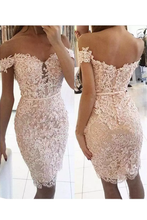 Load image into Gallery viewer, 2019 New Arrival Homecoming Dresses Sheath Off The Shoulder Tulle With Applique