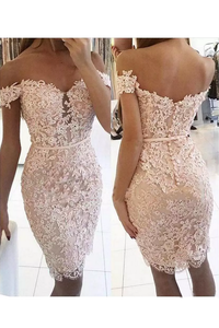 2019 New Arrival Homecoming Dresses Sheath Off The Shoulder Tulle With Applique