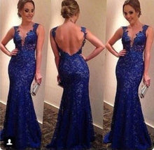 Load image into Gallery viewer, Mermaid Royal Blue Lace Charming Prom Dresses Long Evening Dresses Prom Dresses On Sale T163