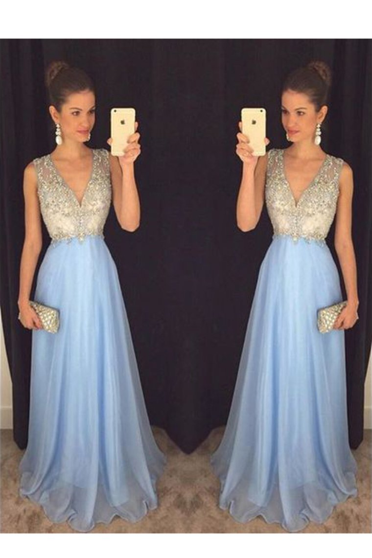 2019 V Neck Chiffon With Beading A Line Sweep Train Prom Dresses