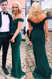 2019 Off The Shoulder Mermaid Prom Dresses Spandex With Applique
