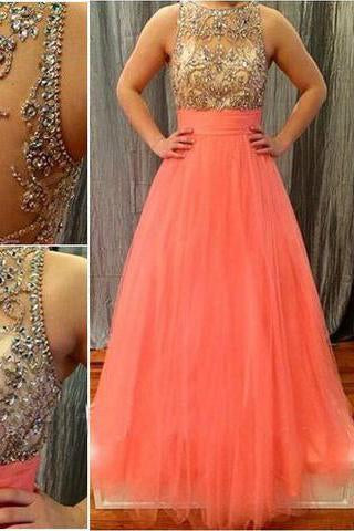 Prom Dresses Scoop Long Tulle Coral Beads Sheer Back High Neck Sleeveless Evening Dress RS867