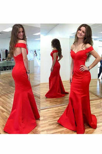 2019 Evening Dresses Off The Shoulder Satin Open Back Sweep Train Mermaid