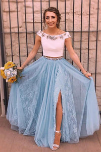 Two Piece Sky Blue Lace Thigh Split Off the Shoulder Prom Dresses with Rhinestone RS95