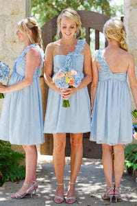 One Shoulder Light Sky Blue Short A-Line Knee Length Bridesmaid Dresses Pregnant Dresses