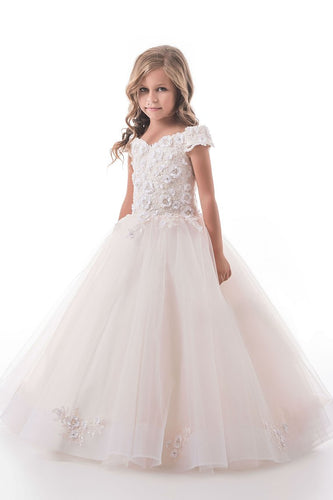 2019 Flower Girl Dresses Off The Shoulder Tulle With Applique A Line