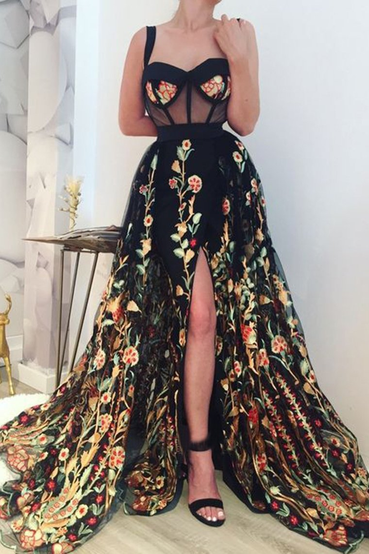 2019 Gorgeous Ball Gown Sweetheart Straps Split Colourful Appliques Flower Long Prom Dresses