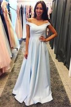 Load image into Gallery viewer, Charming Off The Shoulder Long Light Sky Blue Simple Prom Dresses