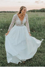 Load image into Gallery viewer, Flowy Long V-Neck Lace V-Neck Simple Wedding Dresses Beach Wedding Dresses