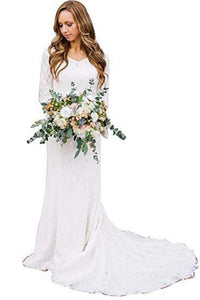 Vintage A Line Bohemian Lace Chiffon 3/4 Sleeve Scoop Wedding Gowns Bridal Dresses RS277