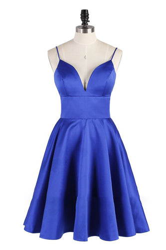 A Line Spaghetti Straps Royal Blue V Neck Backless Satin Knee Length Homecoming Dresses RS838