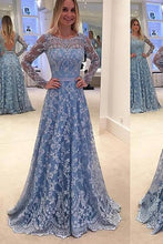 Load image into Gallery viewer, Lace Evening Dress Blue Prom Gowns Modest Prom Dresses For Teens Formal