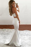 Ivory Mermaid Sweetheart Satin Two Pieces Slit Floor-length Draped Prom Dresses RS406