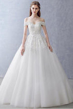 Load image into Gallery viewer, White Off-the-Shoulder Ball Gown Beads Sweetheart Floor-Length Wedding Dress RS751