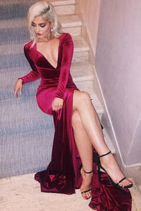 2019 Deep V Neck Evening Dresses Mermaid Long Sleeves Velvet With Slit