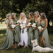 Load image into Gallery viewer, Simple V Neck Green A line Bridesmaid Dresses, Cheap Wedding Party Dresses SRS15599