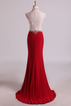 2019 Hot High Neck Prom Dresses Sheath Lace & Spandex Sweep Train