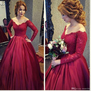 Vintage Long Sleeve Lace Sequins Off Shoulder Prom Dresses