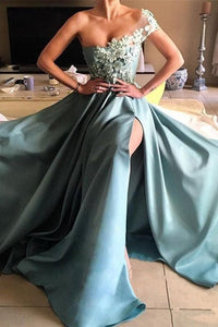 2019 Satin Prom Dresses A Line One Shoulder With Handmade Flowers And Slit