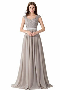 Elegant A Line Wedding Bridesmaid Chiffon Elegant Long Evening Dress