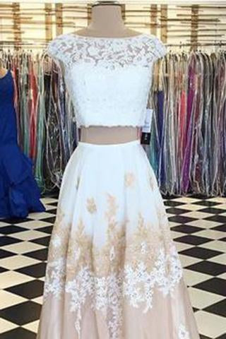 A-line Two Piece Long Floor Length Scoop White Lace Prom Dresses with Open Back RS774
